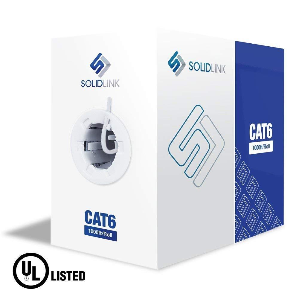 CAT6 Ethernet Riser CMR Cable Gigabit White 1000FT SOLID BARE COPPER 23 AWG