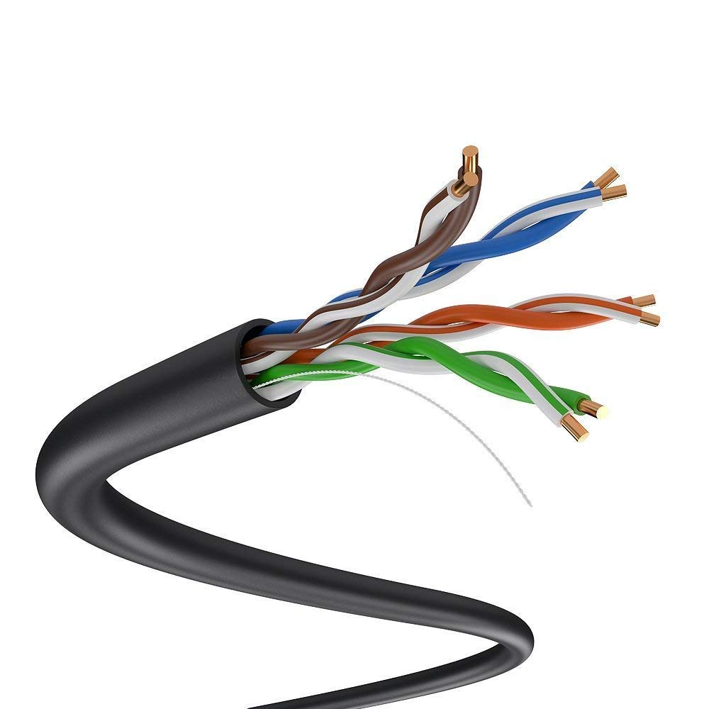 7 ft Cat 5e Direct Burial Outdoor  UV Patch Cable ethernet waterproof.
