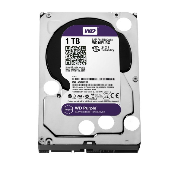 WD Purple 1TB Surveillance Hard Disk Drive - 5400 RPM Class SATA 6 Gb/s 64MB Cache 3.5 Inch