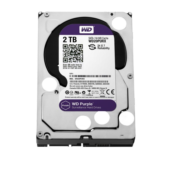 WD Purple 2TB Surveillance Hard Disk Drive - 5400 RPM Class SATA 6 Gb/s 64MB Cache 3.5 Inch