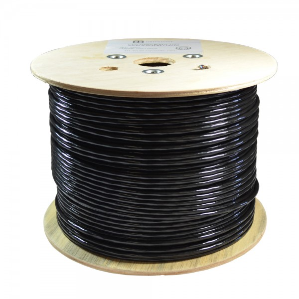 Dripstone Bare Copper 1000ft CAT6 SF/UTP Foiled and Shielded Outdoor/Direct Burial Solid Ethernet Cable 23AWG CMX Waterproof Wire Polyethylene (PE) Black 550Mhz