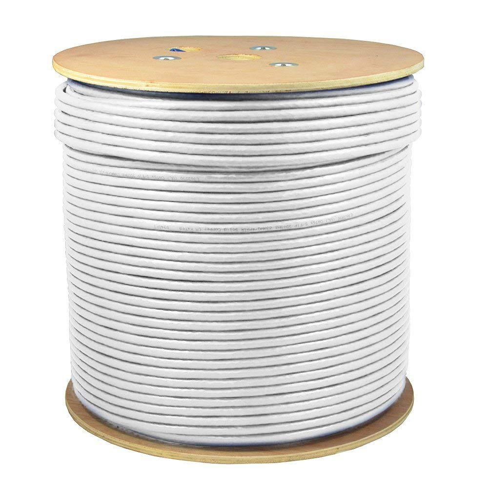 UL LISTED 1000ft CAT6A S//FTP In-Wall 100/% COPPER Solid Wire 23AWG 550Mhz CMR