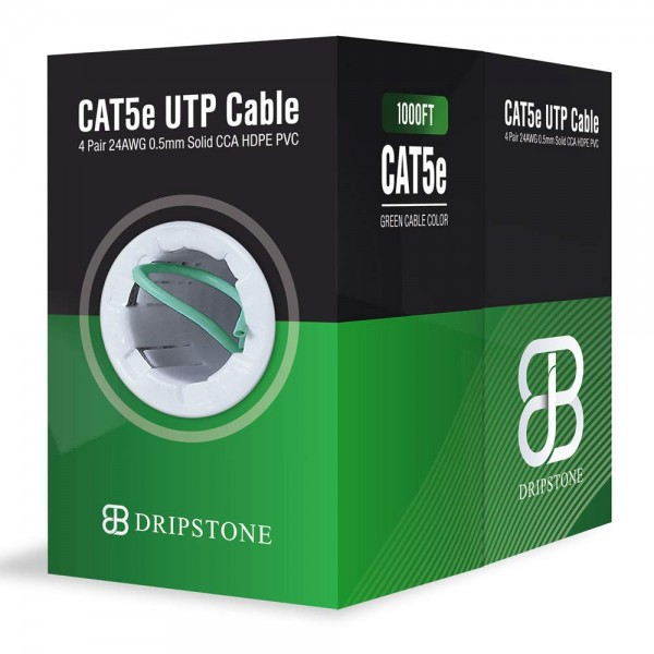1000FT CAT5e Solid 4/UTP 0.50mm Network Cable  (Green)