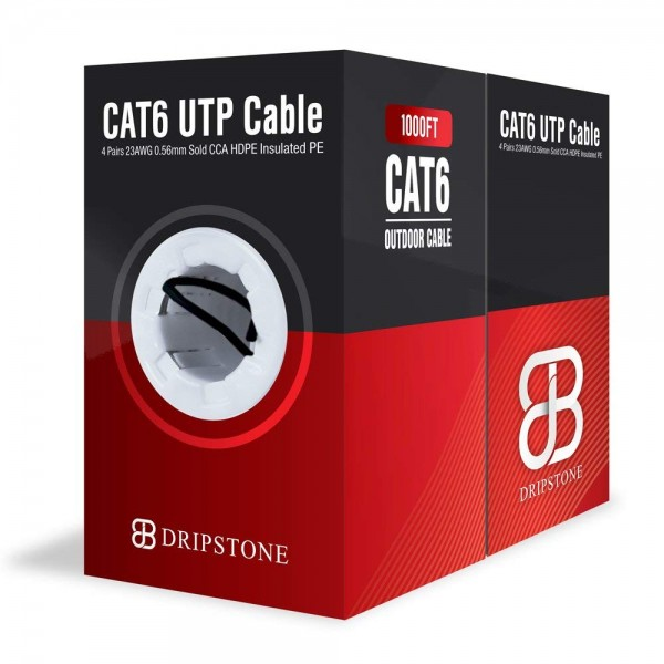 Open Box - Dripstone 500ft Cat6 Outdoor Direct Burial Solid Cable 23AWG Waterproof Wire HDPE insulated Polyethylene (PE) for Indoor/Outdoor Easy pull box, Black