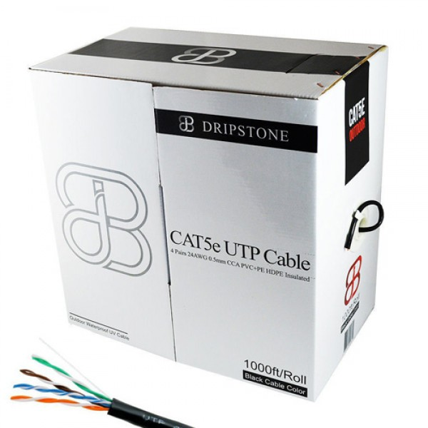 Dripstone 1000FT CAT5E Outdoor Direct Burial Solid Cable UTP Waterproof Black