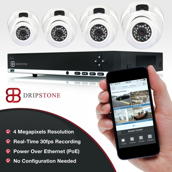 Dripstone 4MP 4 Channel NVR Network  with 4x 4MP IP Dome Camera with Audio Surveillance Security System