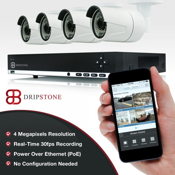 Dripstone 4MP 4 Channel NVR Network  with 4x 4MP IP Mini Bullet Camera with Audio Surveillance Security System