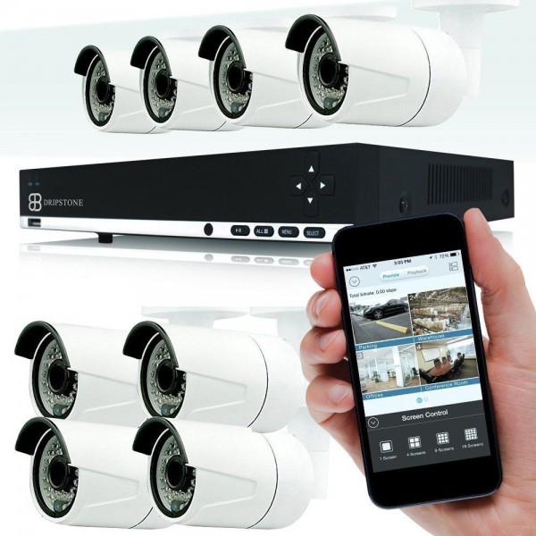 4MP 8 Channel NVR Network  with 8x 4MP IP Bullet Camera Surveillance Security System with Audio Fixed Lens 3.6mm Vandalproof