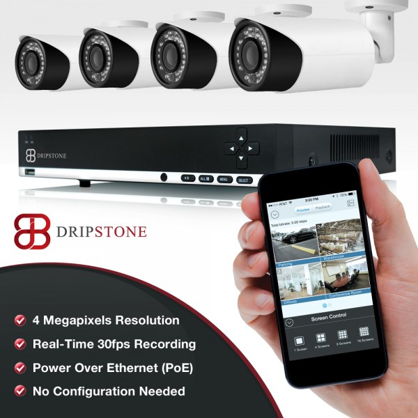 4MP 4 Channel NVR Kit with 4x 4MP IP Bullet Camera Surveillance Security System
