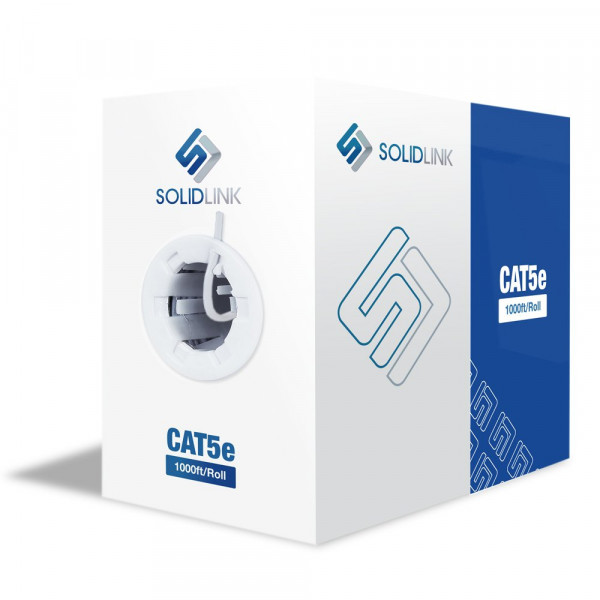 Solid Link 1000FT CAT5e Solid 4/UTP 0.50mm Network Cable  (White)