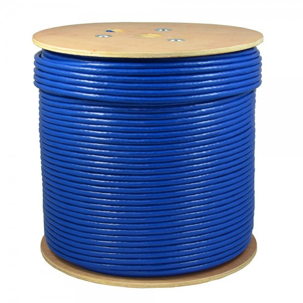 1000ft CAT6A U/UTP Plenum Rated (CMP) UL Listed 100% Copper Solid 23AWG Conductor 750Mhz Fluke Tested LAN Network Cable Ethernet Wire (Blue)
