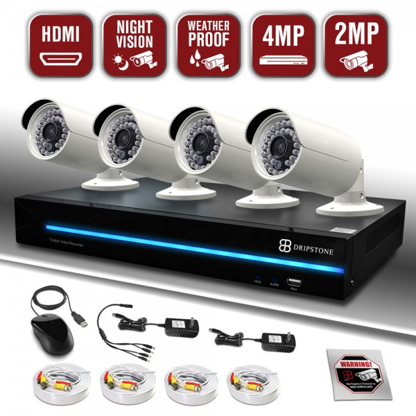 Dripstone 4MP Home Security Camera System 8CH XVR with 1TB Hard Drive with 4x 2MP Full HD Bullet Camera Indoor Outdoor 100ft Night Vision and Motion Detection